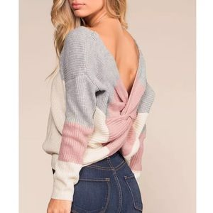 😍Happy Forever Pink Grey Cross Cozy Sweater
